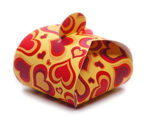 Faltschachtel Valentin 2: rote Herzen, gelber Hintergrund