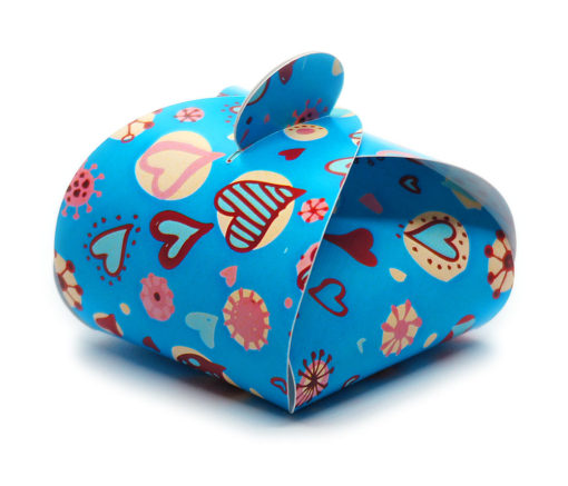 Faltschachtel Valentin 3 blauer Hintergrund, bunte Herzchen