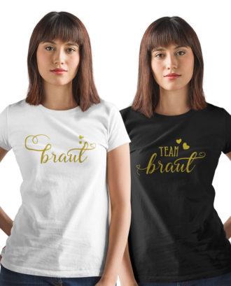 Junggesellinnenabschied Tshirt Braut und Team Braut mit goldenen Print