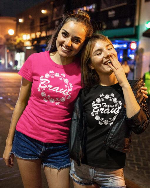 Spass zum Junggesellinnenabschied: T-Shirts von stylebutton mit Motiv 73 (Team) Braut