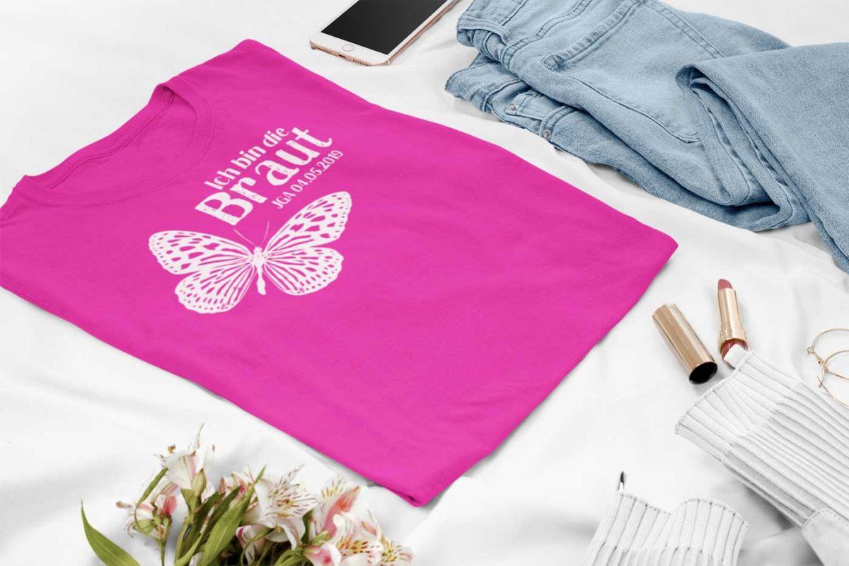 JGA Shirt Frauen Pink mit Schmetterling
