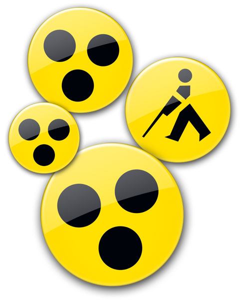 die gelbe Blindenplaketten gibt es in 2 Version und 3 Größen