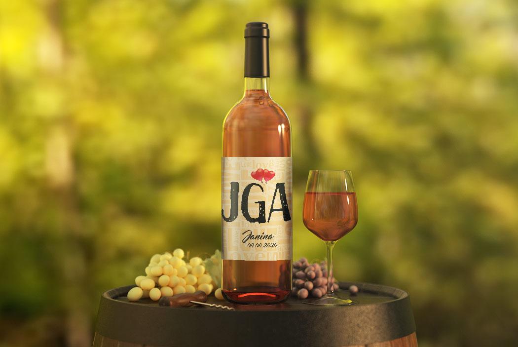 JGA Flaschen-Etikett #3 apricot mit roten Luftballons