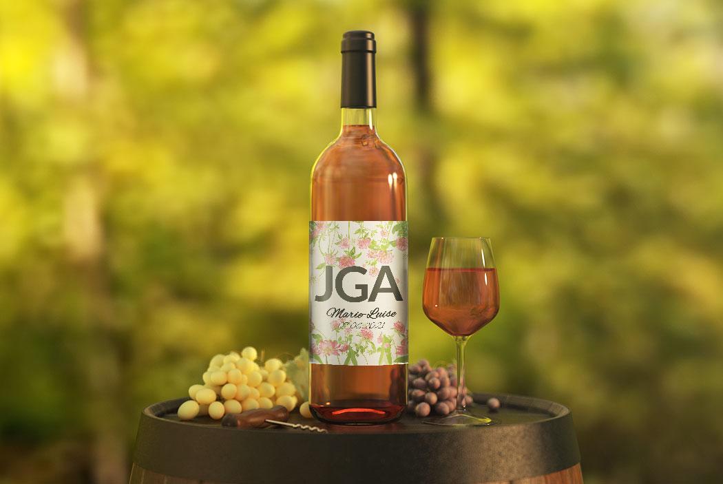 Weinflasche mit JGA-Flaschensticker #28