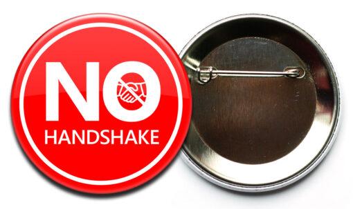 no handshake button corona sicherheitsnadel No Handshake Buttons