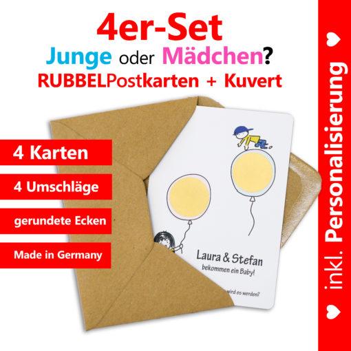 komplettes 4er-Set aus personalisierten Rubbelkarten mit Umschlägen