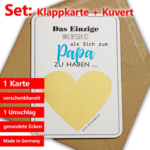 Komplettset: Rubbelkarte mit Kuvert für Papas.