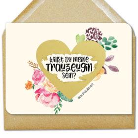 """floral gestaltete Rubbelkarte mit großem goldenen Herz und der Frage """"Willst Du meine Trauzeugin sein?"""""""