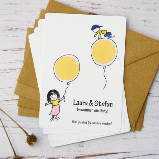 Junge oder Mädchen? personalisierte Rubbelkarten, um das Geschlecht des zukünftigen Erdenbürgers zu verraten.