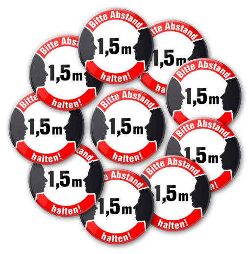 abstand halten 4 10 buttons NEU! Bitte 1,5 m Abstand halten!-Button