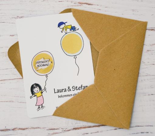 Rubbelkarte mit zwei Rubbelfeldern Junge oder Mädchen