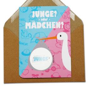Rubbelkarte JM3 Storch Junge oder Mädchen