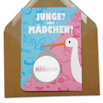 Scratchcard Storch Baby im Schnabel für Mädchen