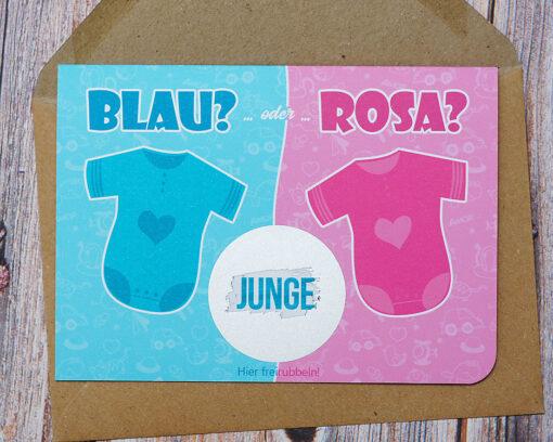 Rubbelkarte RB-JM4: Junge oder Mädchen? Lass Deine Verwandten raten, was es wird!