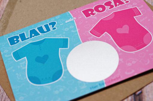 Baby Rubbelkarte Scratchcard mit Rubbelfeld