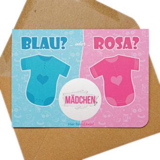 Rubbelkarte Baby Junge oder Mädchen