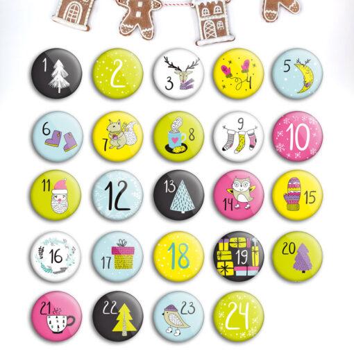 Zahlen Buttons für DIY Adventskalender zum Basteln