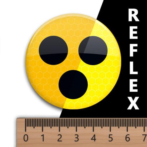 reflektierender Blinden-Button Abzeichen gelb mit 3 schwarzen Punkten