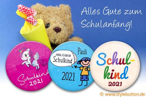 3 liebevoll gestaltete Schulkind-Buttons: persönliche Geschenke zur Einschulung