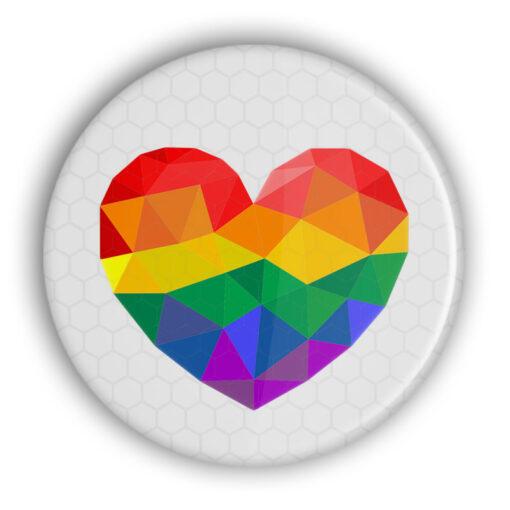 LGBT Reflektor Rainbow Herz Button