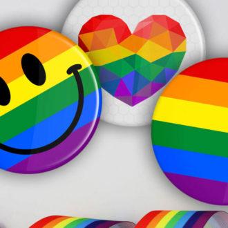 LGBT+ Regenbogen Buttons