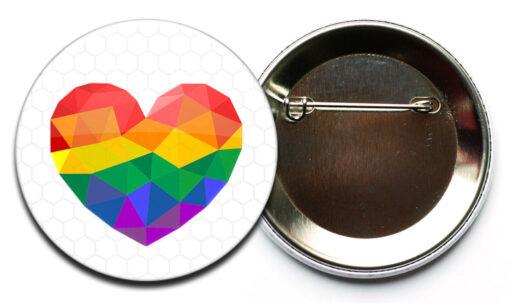 LGBT herz reflektor button sicherheitsnadel Regenbogen Herz Reflektor