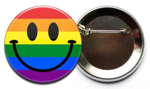 LGBT smilie button sicherheitsnadel LGBT Smiley Regenbogen Button